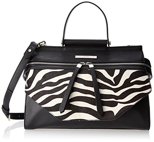 Nine West 9W City Chic Hewes Satchel Top Handle Bag, Black/White, One Size