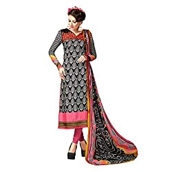 Resham Fabrics Black French Crepe salwar Suit