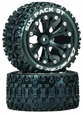 Duratrax Sixpack ST 2.8 Truck 2WD Mounted Rear C2 Wheels (2-Piece), Black