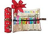 Ergonomic Crochet Hooks with Grips,Crochet Hook Case Organizer Roll Up,Crochet Kit,9pcs Comfort Grip Crochet Needles,Rubber Handle Crochet Hook Knitting Needle Set With Latch Hook&Measuring Tape