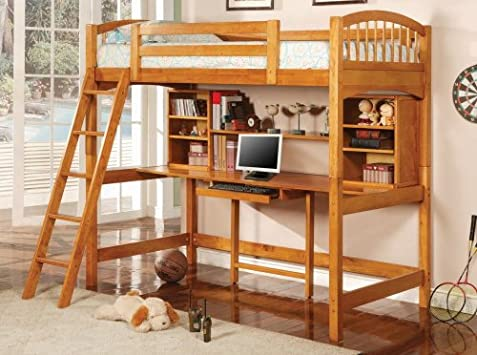 Luxury Coaster Bunk Bed and Workstation in Warm Brown Finish