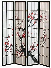 4 panel Cherry Blossom Design Room Divider 4-PANEL BLACK