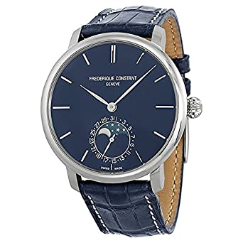 Frederique Constant Slimline Blue Dial Blue Leather Mens Watch FC-705N4S6