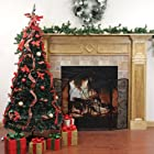 7.5' Pre-Lit Pop Up Decorated Red Plaid Artificial Christmas Tree - Multi Lights