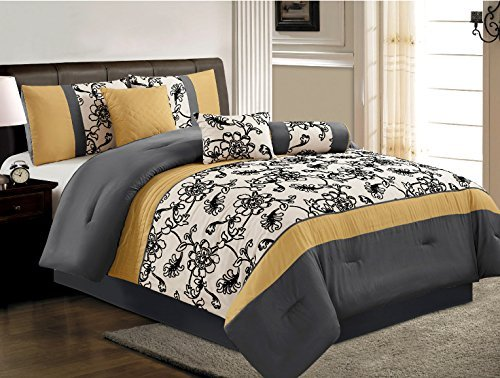 Buy Bargain 7 Pieces Luxury Yellow, Black, White and Grey Embroidered Comforter Set / Bed-in-a-bag C...