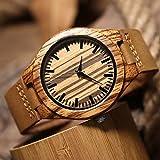 Cucol(クコル)ファション木製腕時計 新しいスタイル 本革バンド 高級ブランド腕時計 木製竹の木の人気高いアントラーズ画像彫刻クロック (136)
