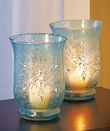 Elegant Frosted Ice Blue Snowflake Winter Jeweled Glass Candle Holders Christmas Table Top Decor Set of 2 by KNL Store