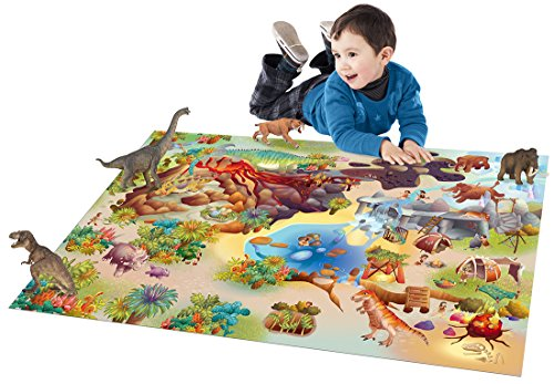 Tapis-enfant-antidrapant-jeu-circuit-CONNECTE-DINOSAURES-en-Polyester-par-House-Of-Kids-Tapis-moderne