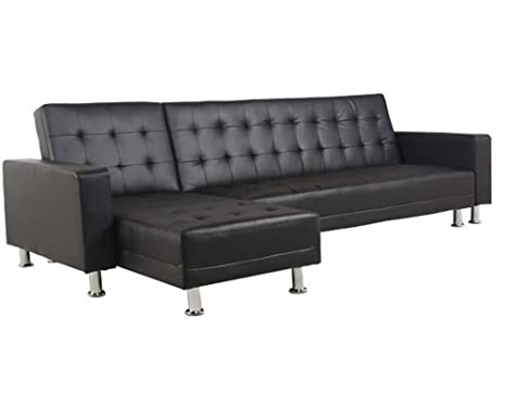 Moloo Canapé d'angle Convertible Simili Faux Cuir Noir Space 257 x 147 x 81 cm