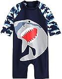 [Vaenait Baby] 0-24ヶ月UVカット ラッシュガードベビー子供男の子長袖ワンピース水着Baby Cooling Jaws L