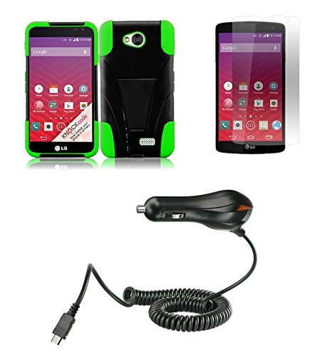 Lg Transpyre Vs810Pp - Black And Neon Green Dual Layer Impact Defender Shockproof Armor Kickstand Cover Case + Atom Led Keychain Light + Screen Protector Guard + 1A (1100 Mah Output) Micro Usb Car Charger