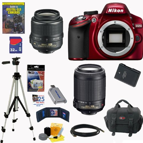 "Nikon D3200 24.2 Mp Cmos Digital Slr Camera (Red) With 18-55Mm F/3.5-5.6G Af-S Dx Vr And 55-200Mm F/4-5.6G Ed If Af-S Dx ""Vr"" Zoom-Nikkor Lenses + En-El14 Battery + 32Gb Deluxe Accessory Kit"