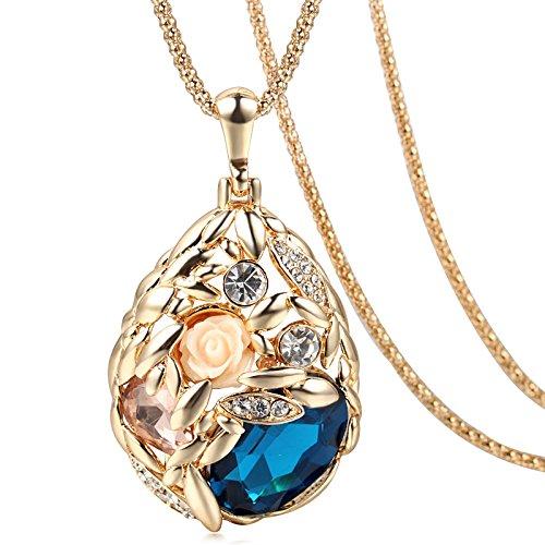 Lily Jewelry - Elegante collana da donna, placcata oro, con cristalli Swarovski