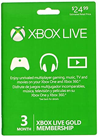 Microsoft Xbox Live 3 Month Gold Card