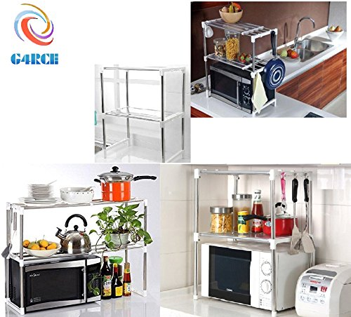 g4rce-new-multi-function-double-microwave-oven-stand-shelf-side-organizer-storage-unit-rack-with-han