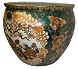 "Oriental porcelain fishbowl / jardiniere / planter / pot, 18"", handpainted gold filigree, hunter green"