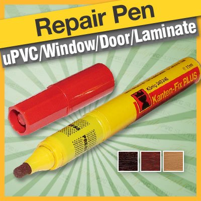 Cherry Konig Repair Pen - Blends coloured / foiled repairs cherry upvc /pvcu conservatory windows & doors, laminate & furniture. Includes 2 other tips for wide & fine edging.
