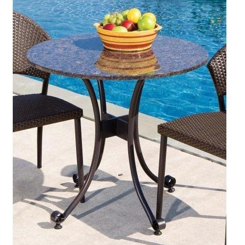 Superior Alfresco Home Vento Outdoor Bistro Table With Granite Top   30 Inch Round