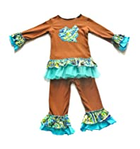 Boutique Girls Brown and Teal Pants Set 2-4 Years