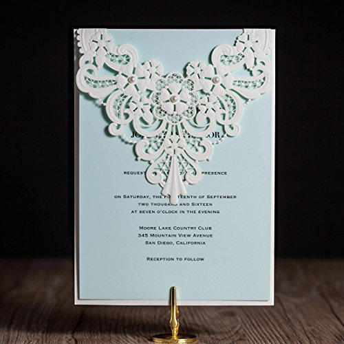 Wishmade 50pcs Turquoise Laser Cut Wedding Invitations Cards With Pearl Lace Floral Cardstock for Bridal Shower Baby Shower Engagement Quinceanera Birthday Wedding Favors (set of (Homemade Halloween Invitations)