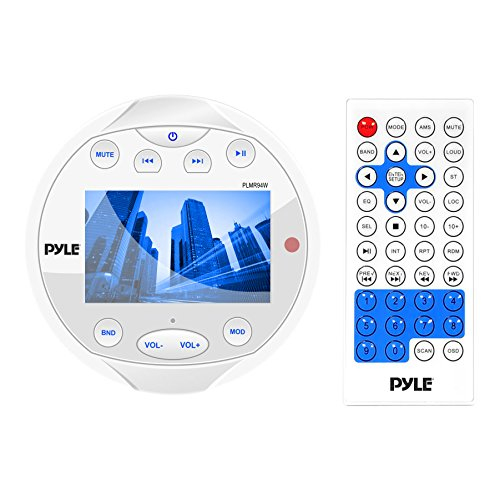 Pyle PLMR94W Hydra Waterproof Bluetooth Marine Digital Receiver Stereo Radio USB/MP3/AM/FM/AUX Input, Round/Circle