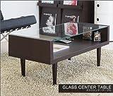【GLASS CANTER TABLE】 ガラスセンターテーブル (ダークブラウン) 幅90cm
