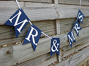 Mr. & Mrs. banner in Navy Blue and White - Wedding Decoration and Photo Prop