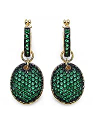 9.90 Grams Green Cubic Zirconia 14K Rose Gold Plated Silver Oval Shape Earrings -Free Earrings