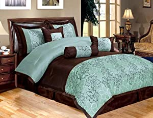 Amazon.com - 7 Piece Bed In A Bag, PEONY Aqua Blue / Brown ...