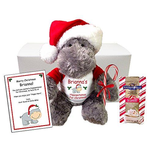Hippopotamus for Christmas Personalized Stuffed Animal Gift Set
