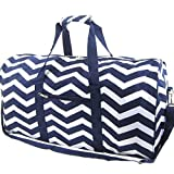 "Chevron Zig Zag Print 22"" Canvas Duffle Bag (Navy Blue)"