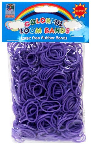 Colorful-Loom-Bands-600-PURPLE-Rubber-Bands-with-S-Clips