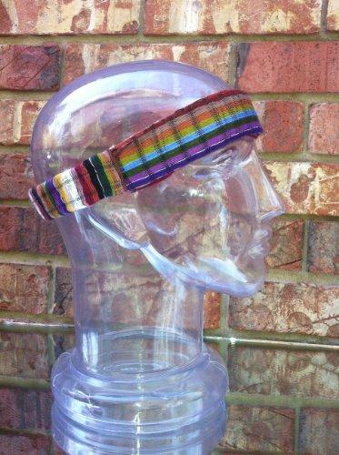 Inspirit Arts Small Earthtone Headband Expandable Handwoven Open Net Weave Lightweight Bandana Headwrap Elastic 100% Cotton Hair Scarf front-499931