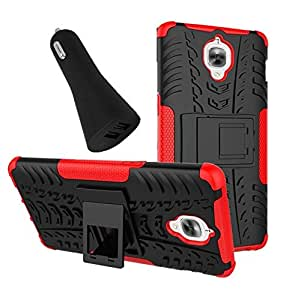 YGS Tough Rugged Dual Layer Back Case with Kickstand for Mobilephone OnePlus 3 -Red With Red Dual Port Car Charger