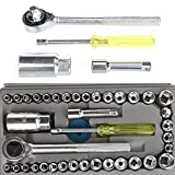 40 Pieces Socket Sleeve Wrench Combination Set Motorcycle Vehicle Repair Tool image
