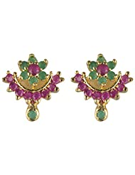 Archi Collection Trendy Golden Plated Emerald CZ Stud Golden Brass Stud Earring For Women - B00ZI8OMJ4