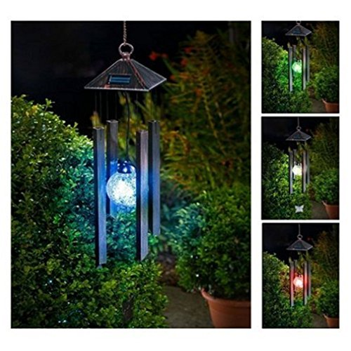 KAZOKU Solar Powered Colour Changing LED Windchime Outdoor Garden Metal Wind Chime Shopmonk