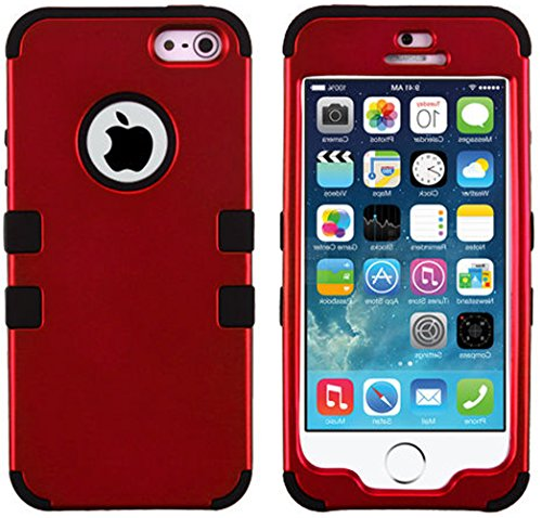 Mylife Black And Dark Red - Colorful Robot Series (Neo Hypergrip Flex Gel) 3 Piece Case For Iphone 5/5S (5G) 5Th Generation Smartphone By Apple (External 2 Piece Fitted On Hard Rubberized Plates + Internal Soft Silicone Easy Grip Bumper Gel)