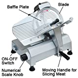 Professional Stainless Steel Electric Food Slicer Butcher Equipment Meat Cheese Deli Chopper 10-inch Disc Blade 240 Watts 530rpm Appliance CE for Home