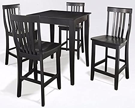 Crosley 5-Piece Pub Dining Set with Cabriole Leg and School House Stools, Black Finish