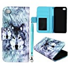 Snow Wolf Leather Wallet Flip ID Pouch Apple Iphone 5 , 5S at&t. Verizon, Sprint, C Spire Case Cover Hard Phone Case Snap-on Cover Protector Rubberized Touch Faceplates
