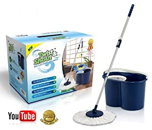 Twist and Shout Mop - Award Winning Newest Version Spin Mop Driven By Hand Push (No Foot Pedal) - Original Inventor - 100% Quality Guarantee