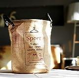 麻のランドリーバスケット 洗濯かご 革の取っ手 スポーツ用