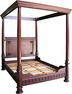 5' Kingsize Tudor Four Poster Bed Solid Mahogany High Head Low Foot Board