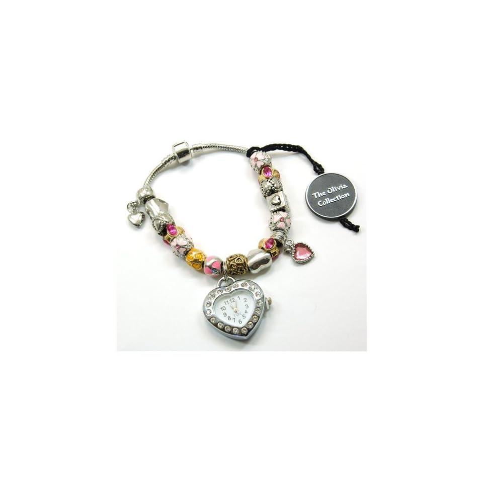 TOC BEADZ Branded Pink & Gold Heart Watch Bead Bracelet