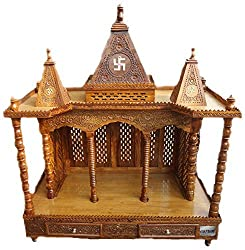 Aarsun Wood Temple Rosewood/ Sheesham, Folding Mandir/ Mantapam