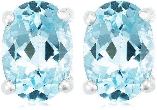 Sterling Silver Blue Topaz Oval Earrings