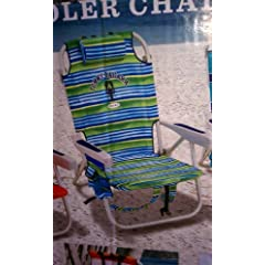 Buy Tommy Bahama Two (2) Green Striped Backpack Cooler Chairs with One (1) Solid Blue Umbrella by Tommy Bahama