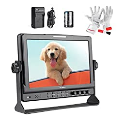 Feelworld FW1018S 10.1 Inch IPS Screen Ultra HD 1280800 3G-SDI HDMI Camera-Top Field Monitor with Pergear Clean Kit (With Battery Pack)