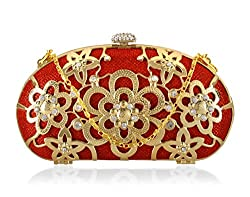 A4aadi Metal Red Clutch For Women
